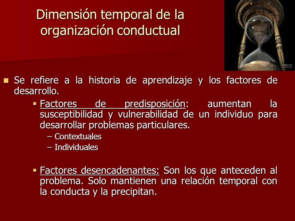 Dimensión temporal de la organización conductual Se refiere a la historia de aprendizaje y los factores de desarrollo. Se refiere a la historia de apr