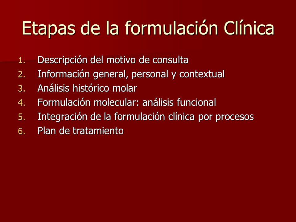 Etapas de la formulación Clínica 1. Descripción del motivo de consulta 2. Información general, personal y contextual 3. Análisis histórico molar 4. Fo