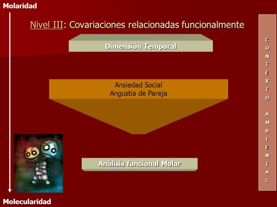 Dimensión Temporal Ansiedad Social Angustia de Pareja CONTEXTOAMBIENTAL Molaridad Molecularidad Nivel IIINivel III: Covariaciones relacionadas funcion