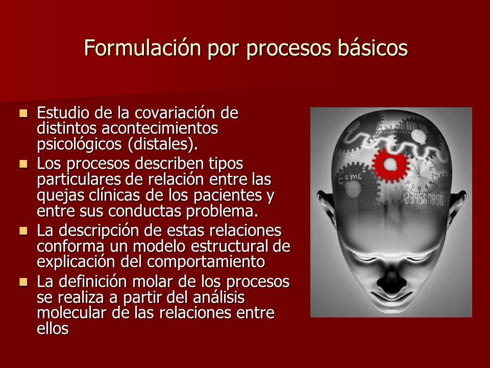 Formulación por procesos básicos Estudio de la covariación de distintos acontecimientos psicológicos (distales). Estudio de la covariación de distinto