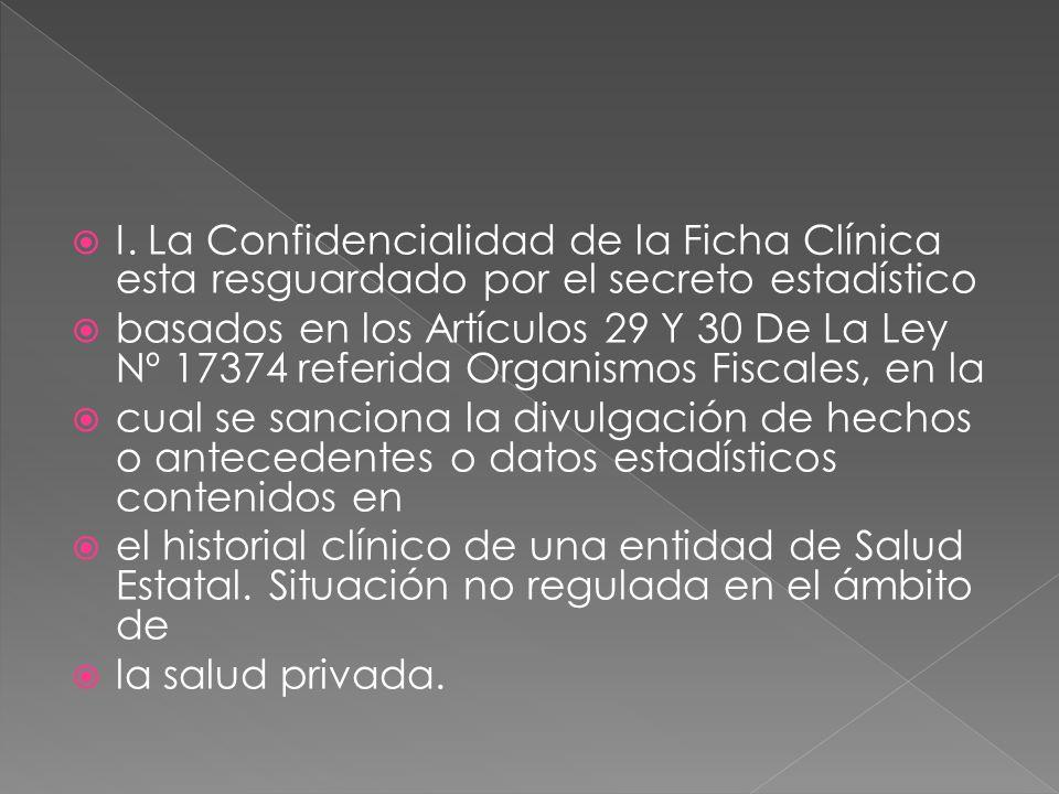 I. La Confidencialidad de la Ficha Clínica esta resguardado por el secreto estadístico basados en los Artículos 29 Y 30 De La Ley Nº 17374 referida Or
