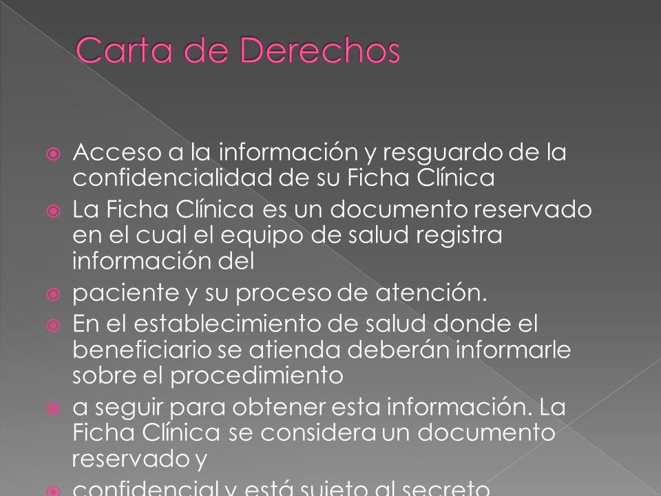 Acceso a la información y resguardo de la confidencialidad de su Ficha Clínica La Ficha Clínica es un documento reservado en el cual el equipo de salu