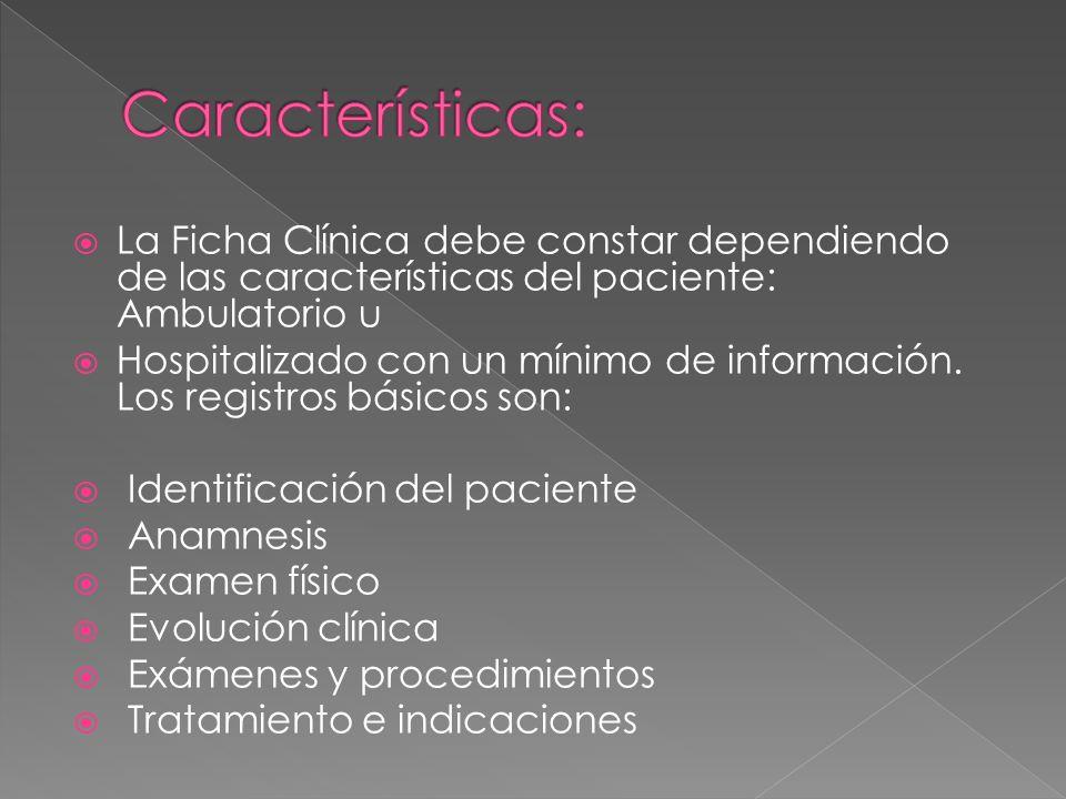 La Ficha Clínica debe constar dependiendo de las características del paciente: Ambulatorio u Hospitalizado con un mínimo de información. Los registros