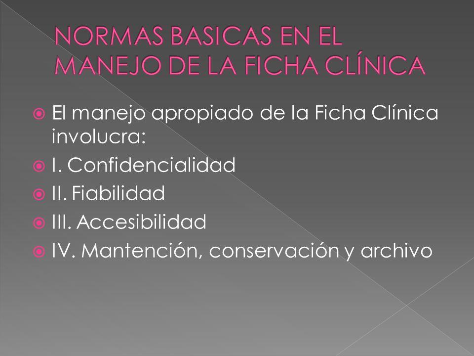 El manejo apropiado de la Ficha Clínica involucra: I. Confidencialidad II. Fiabilidad III. Accesibilidad IV. Mantención, conservación y archivo