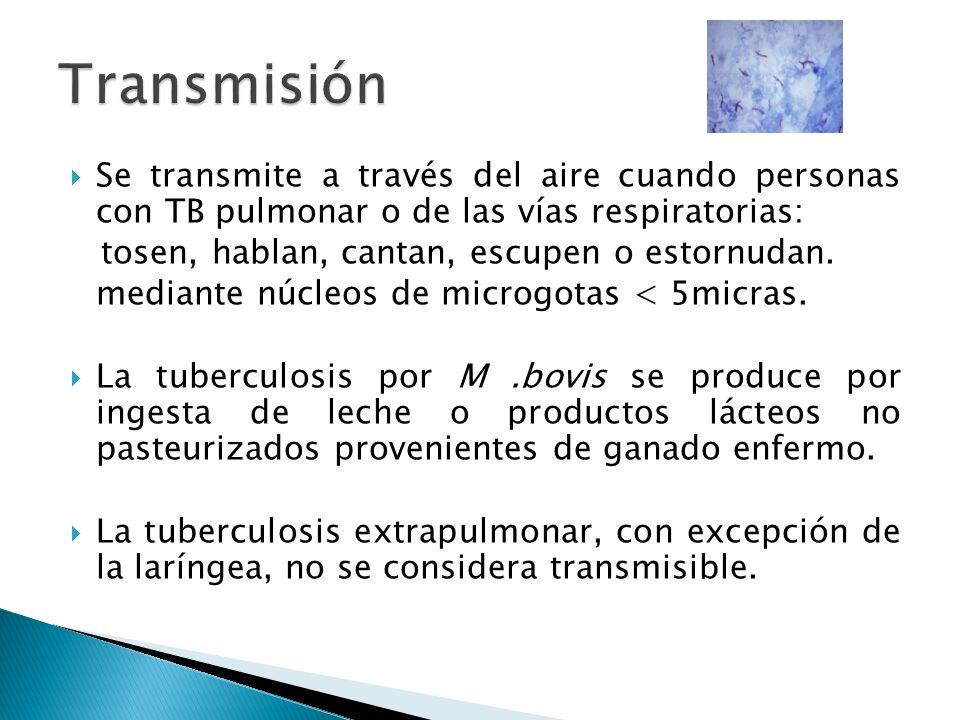 Se transmite a través del aire cuando personas con TB pulmonar o de las vías respiratorias: tosen, hablan, cantan, escupen o estornudan. mediante núcl