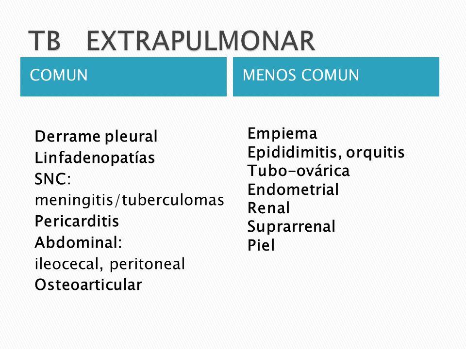COMUNMENOS COMUN Derrame pleural Linfadenopatías SNC: meningitis/tuberculomas Pericarditis Abdominal: ileocecal, peritoneal Osteoarticular Empiema Epi