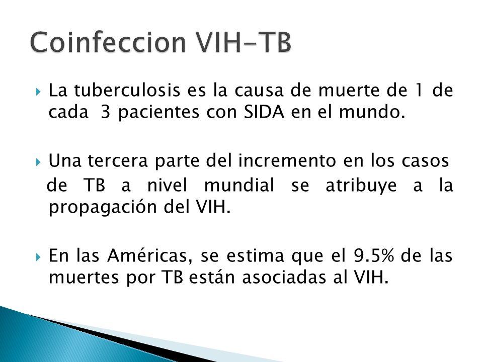La tuberculosis es la causa de muerte de 1 de cada 3 pacientes con SIDA en el mundo. Una tercera parte del incremento en los casos de TB a nivel mundi