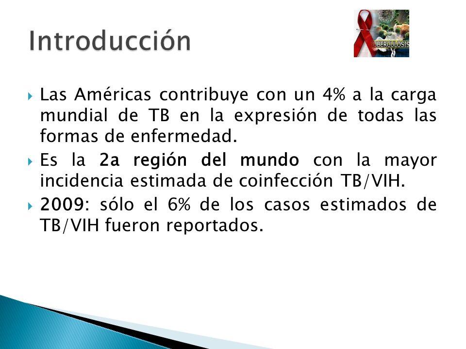 Las Américas contribuye con un 4% a la carga mundial de TB en la expresión de todas las formas de enfermedad. Es la 2a región del mundo con la mayor i