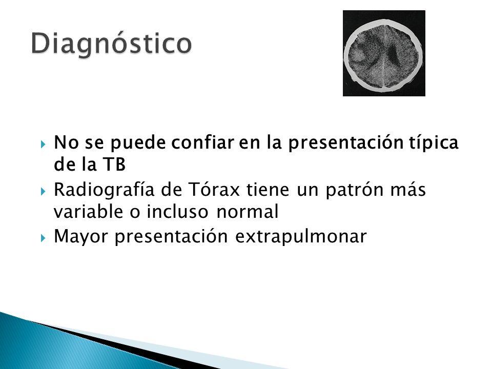 No se puede confiar en la presentación típica de la TB Radiografía de Tórax tiene un patrón más variable o incluso normal Mayor presentación extrapulm