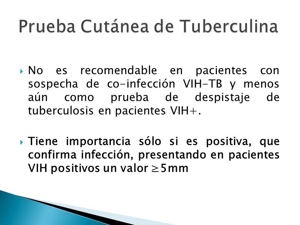 No es recomendable en pacientes con sospecha de co-infección VIH-TB y menos aún como prueba de despistaje de tuberculosis en pacientes VIH+. Tiene imp