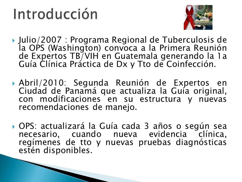 Julio/2007 : Programa Regional de Tuberculosis de la OPS (Washington) convoca a la Primera Reunión de Expertos TB/VIH en Guatemala generando la 1a Guí
