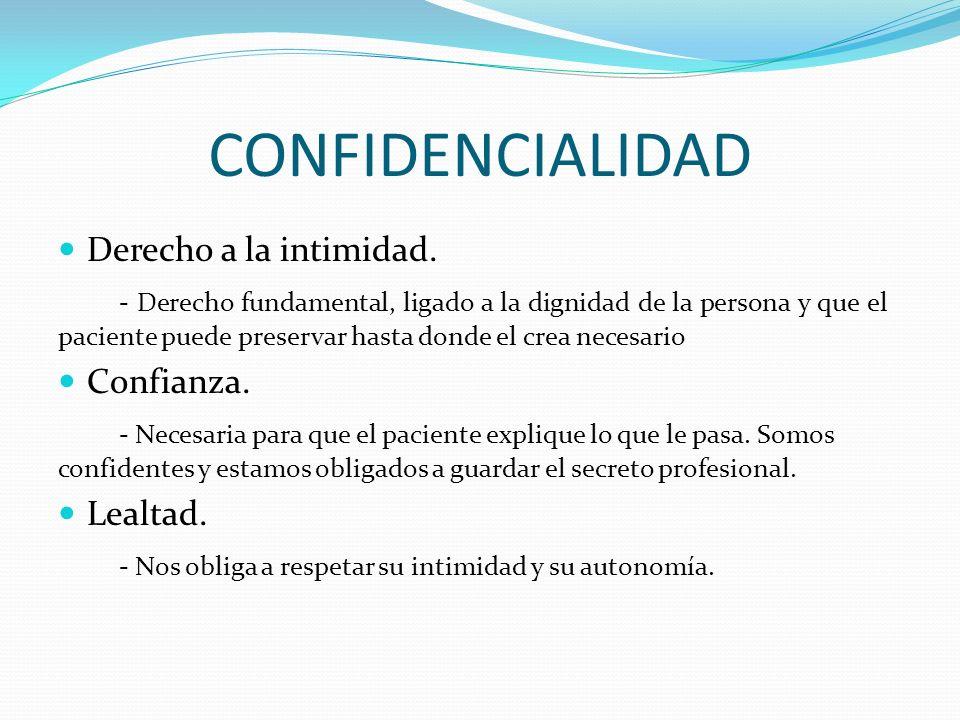 CONFIDENCIALIDAD Derecho a la intimidad. - Derecho fundamental, ligado a la dignidad de la persona y que el paciente puede preservar hasta donde el cr