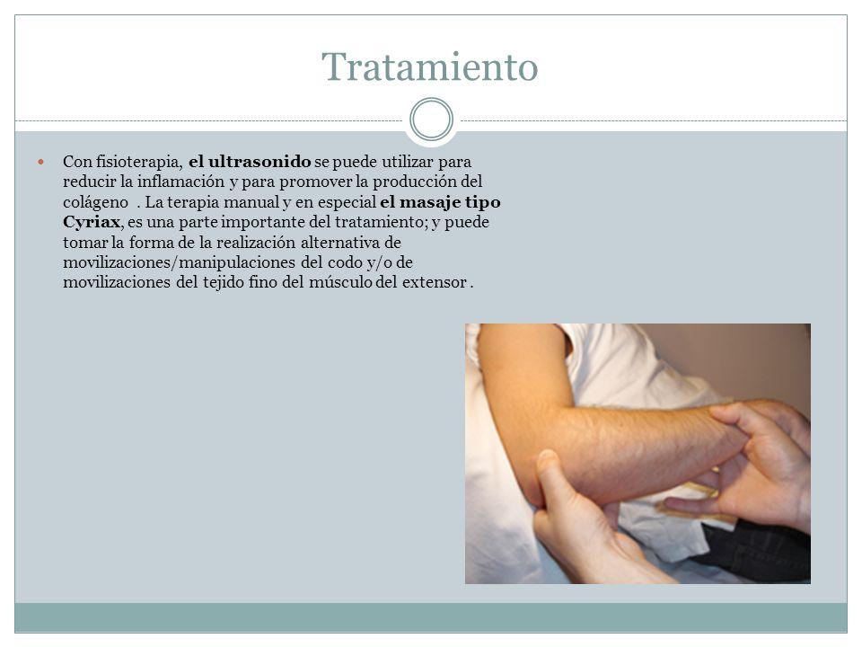 Tratamiento Con fisioterapia, el ultrasonido se puede utilizar para reducir la inflamación y para promover la producción del colágeno. La terapia manu