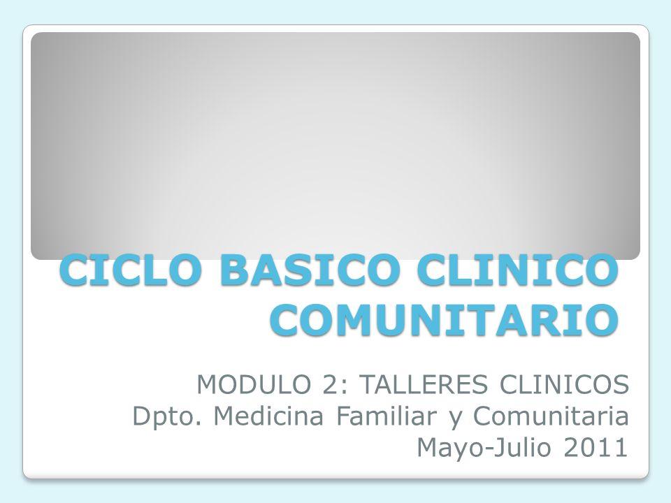 CICLO BASICO CLINICO COMUNITARIO MODULO 2: TALLERES CLINICOS Dpto.