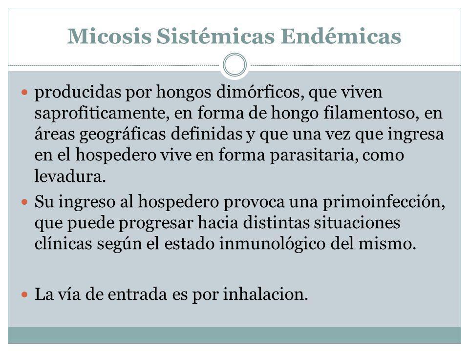 Micosis Sistémicas Endémicas producidas por hongos dimórficos, que viven saprofiticamente, en forma de hongo filamentoso, en áreas geográficas definid