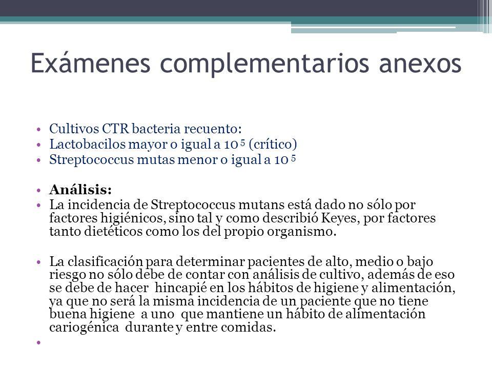 Exámenes complementarios anexos Cultivos CTR bacteria recuento: Lactobacilos mayor o igual a 10 5 (crítico) Streptococcus mutas menor o igual a 10 5 Análisis: La incidencia de Streptococcus mutans está dado no sólo por factores higiénicos, sino tal y como describió Keyes, por factores tanto dietéticos como los del propio organismo.