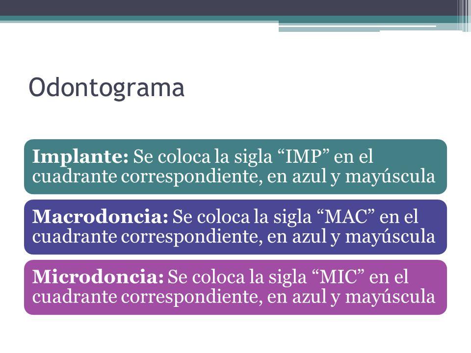 Odontograma Implante: Se coloca la sigla IMP en el cuadrante correspondiente, en azul y mayúscula Macrodoncia: Se coloca la sigla MAC en el cuadrante correspondiente, en azul y mayúscula Microdoncia: Se coloca la sigla MIC en el cuadrante correspondiente, en azul y mayúscula
