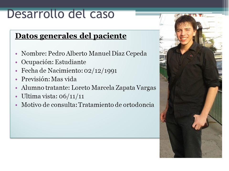 Desarrollo del caso Datos generales del paciente Nombre: Pedro Alberto Manuel Díaz Cepeda Ocupación: Estudiante Fecha de Nacimiento: 02/12/1991 Previs