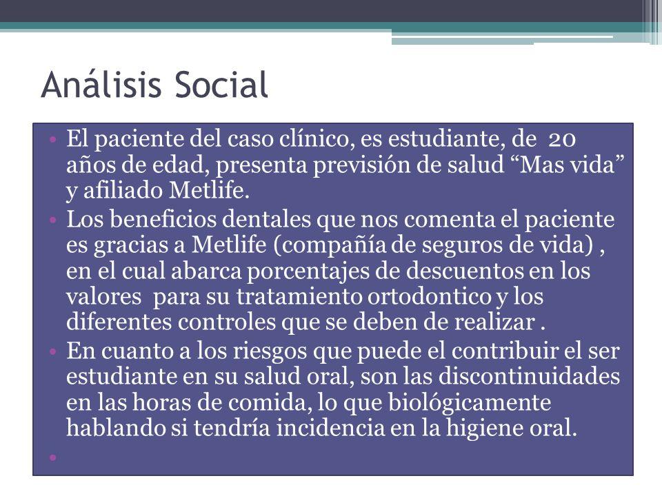 Análisis Social El paciente del caso clínico, es estudiante, de 20 años de edad, presenta previsión de salud Mas vida y afiliado Metlife. Los benefici