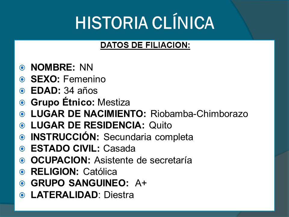 HISTORIA CLÍNICA BIOMETRÍA HEMÁTICA
