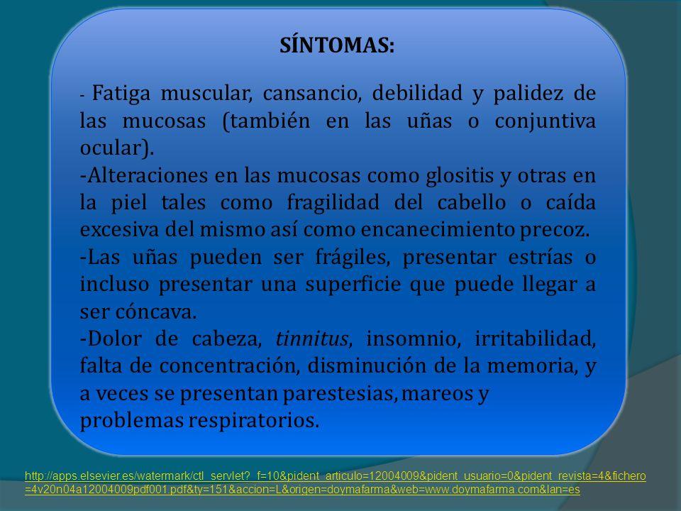 SÍNTOMAS: - Fatiga muscular, cansancio, debilidad y palidez de las mucosas (también en las uñas o conjuntiva ocular).