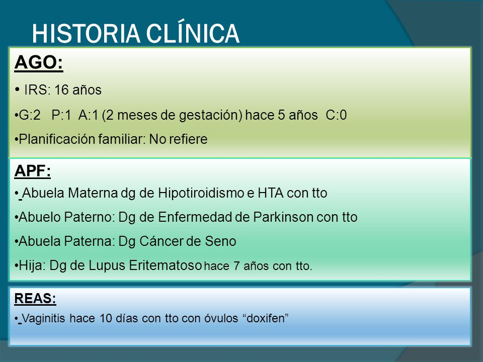 HISTORIA CLÍNICA EXÁMEN FÍSICO Presión Arterial: 1OO/60 mmHg Frecuencia Cardiaca: 74x min Frecuencia Respiratoria: 14 x min Temperatura axilar: 36,2 C Peso: 55 kg Talla: 1.54 cm IMC: 22.89 Paciente consciente orientada con biotipo leptosomático.