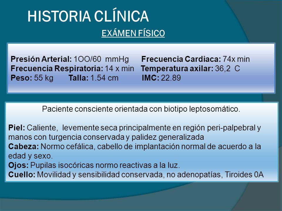 HISTORIA CLÍNICA EXÁMEN FÍSICO Tórax: Simétrico con movimientos respiratorios conservados.