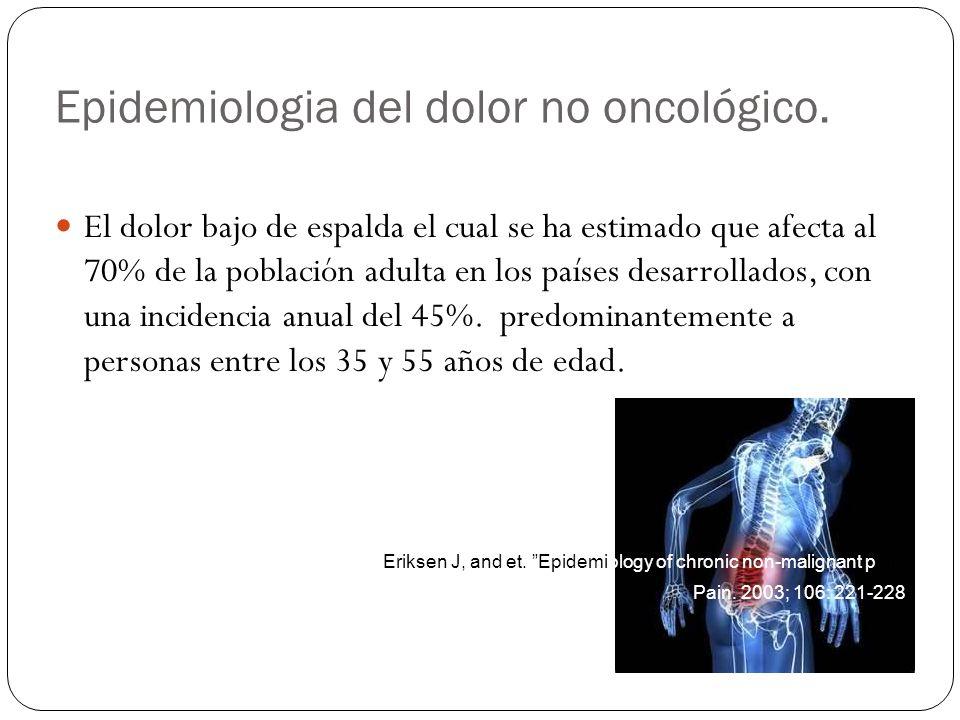 Epidemiologia del dolor no oncológico. El dolor bajo de espalda el cual se ha estimado que afecta al 70% de la población adulta en los países desarrol