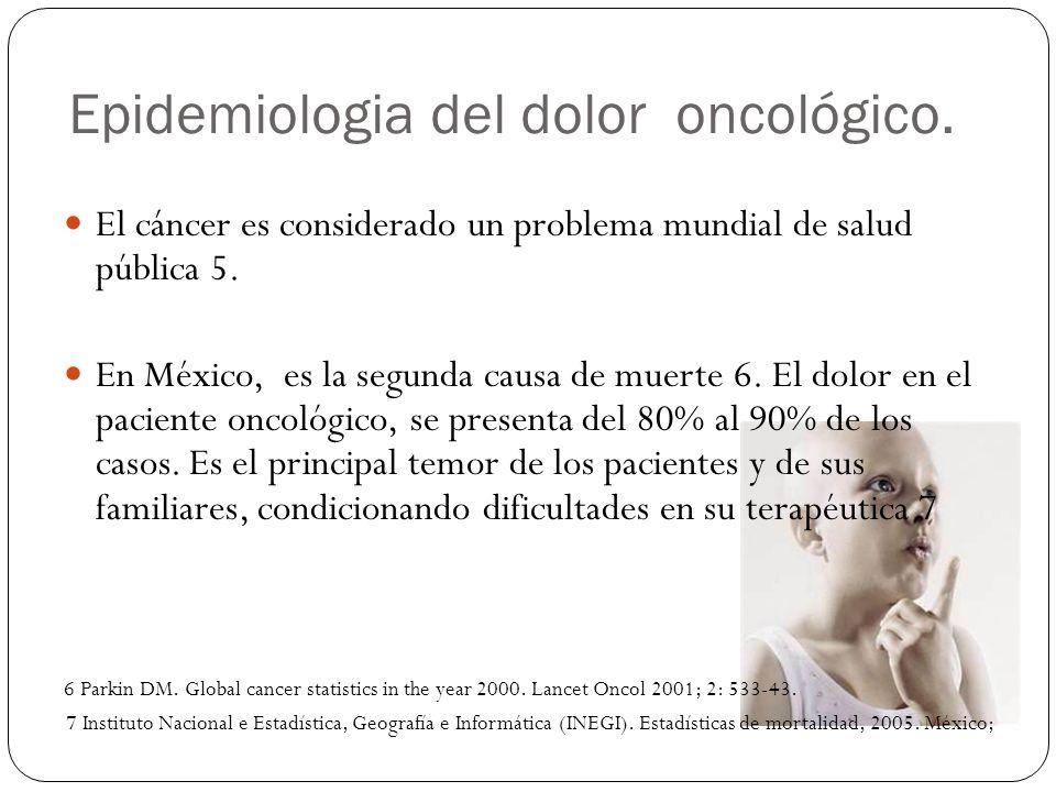 Epidemiologia del dolor oncológico. El cáncer es considerado un problema mundial de salud pública 5. En México, es la segunda causa de muerte 6. El do