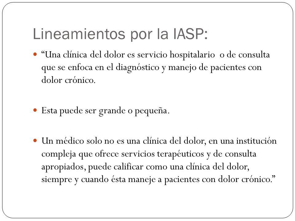 Lineamientos por la IASP: Una clínica del dolor es servicio hospitalario o de consulta que se enfoca en el diagnóstico y manejo de pacientes con dolor