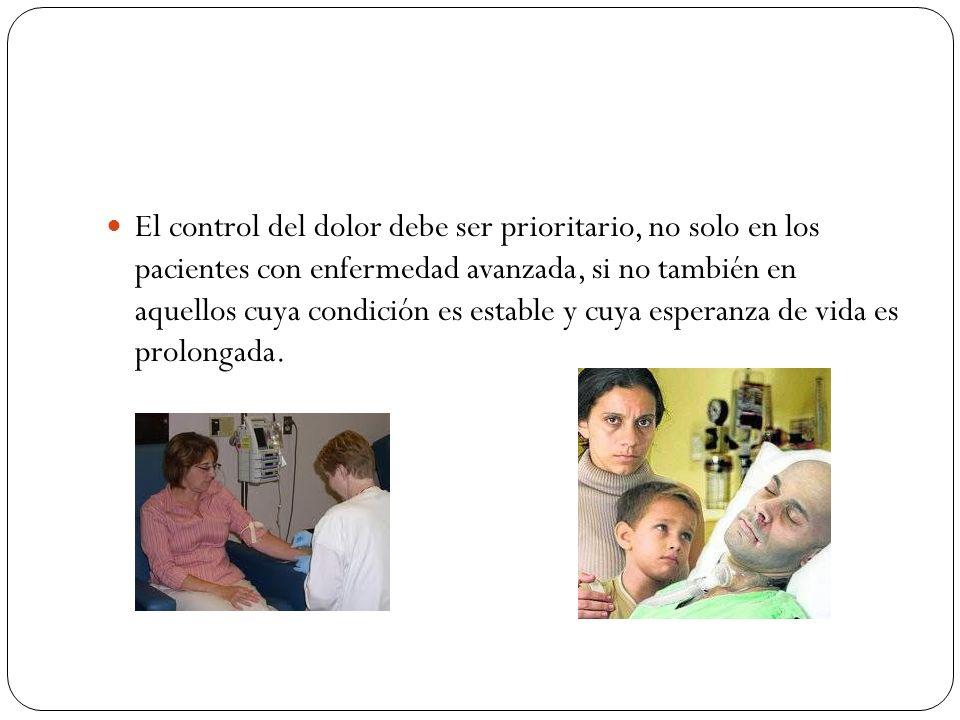 El control del dolor debe ser prioritario, no solo en los pacientes con enfermedad avanzada, si no también en aquellos cuya condición es estable y cuy
