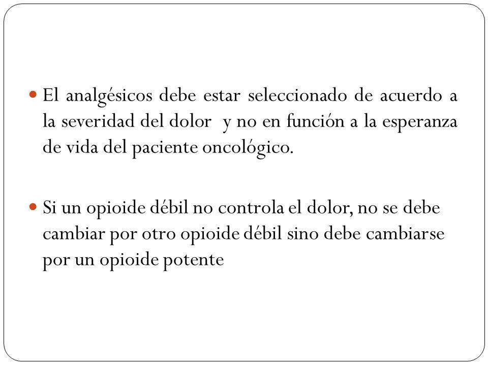 El analgésicos debe estar seleccionado de acuerdo a la severidad del dolor y no en función a la esperanza de vida del paciente oncológico. Si un opioi
