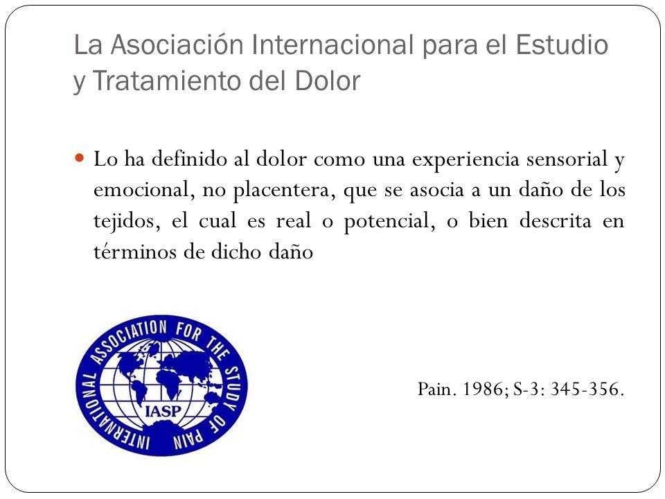 La Asociación Internacional para el Estudio y Tratamiento del Dolor Lo ha definido al dolor como una experiencia sensorial y emocional, no placentera,