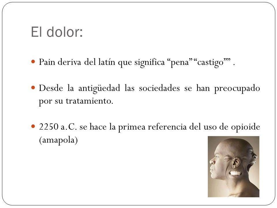 El dolor: Pain deriva del latín que significa pena castigo. Desde la antigüedad las sociedades se han preocupado por su tratamiento. 2250 a.C. se hace