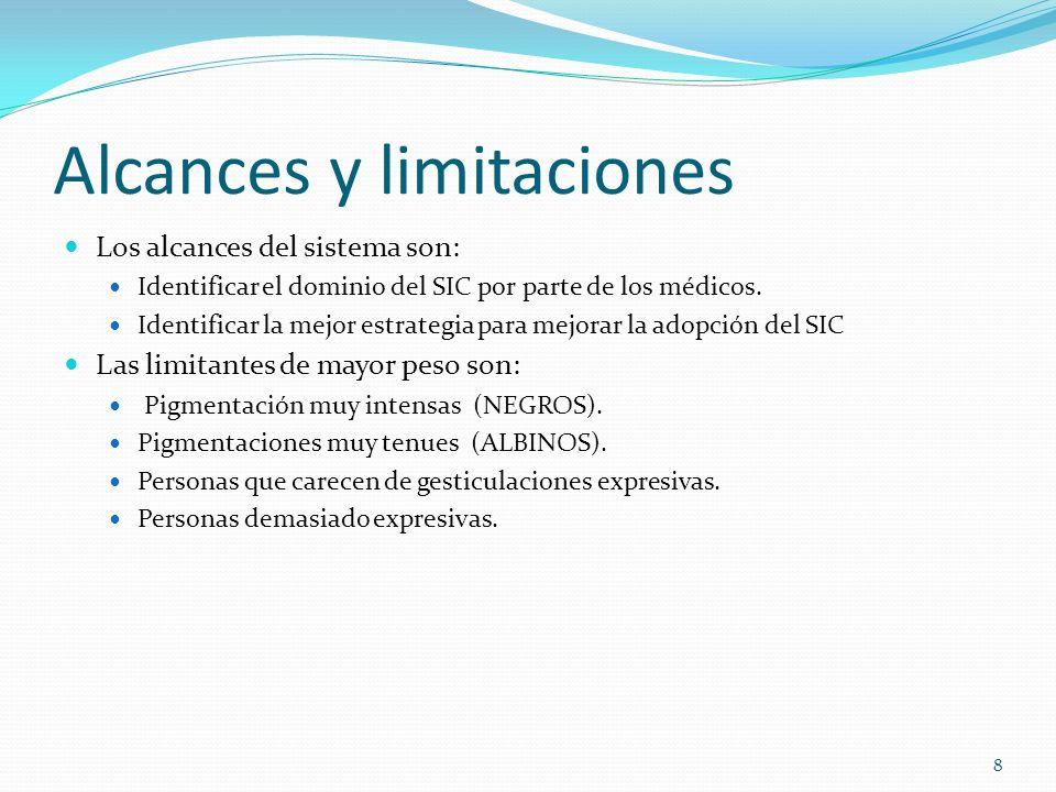 Alcances y limitaciones Los alcances del sistema son: Identificar el dominio del SIC por parte de los médicos.