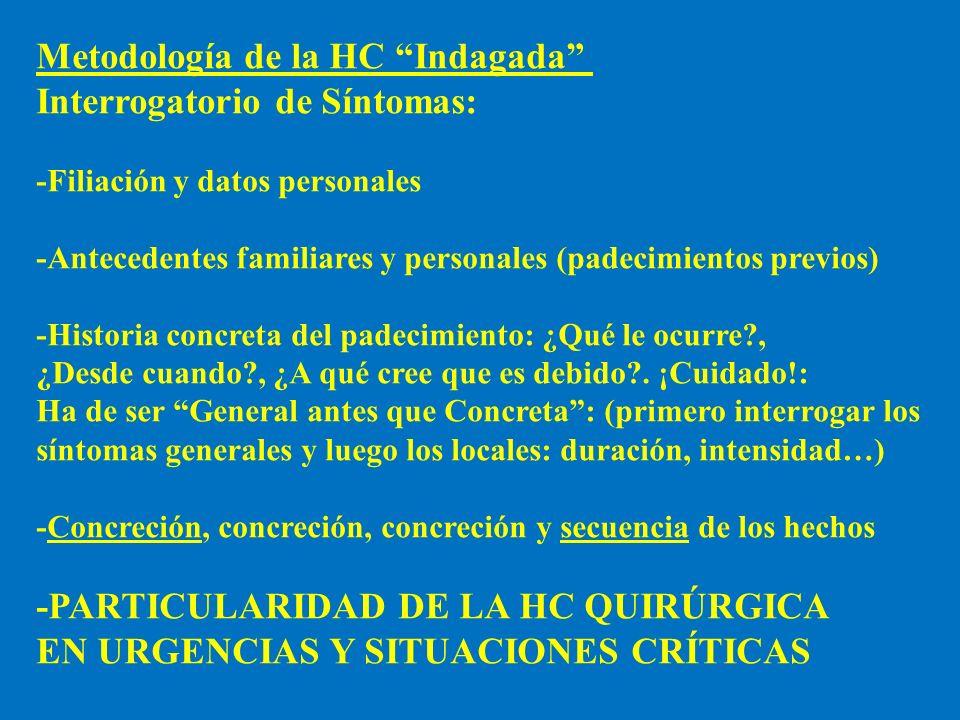 Metodología de la HC Indagada Interrogatorio de Síntomas: -Filiación y datos personales -Antecedentes familiares y personales (padecimientos previos)