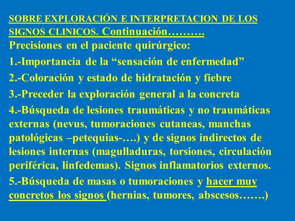 SOBRE EXPLORACIÓN E INTERPRETACION DE LOS SIGNOS CLINICOS. Continuación………. Precisiones en el paciente quirúrgico: 1.-Importancia de la sensación de e