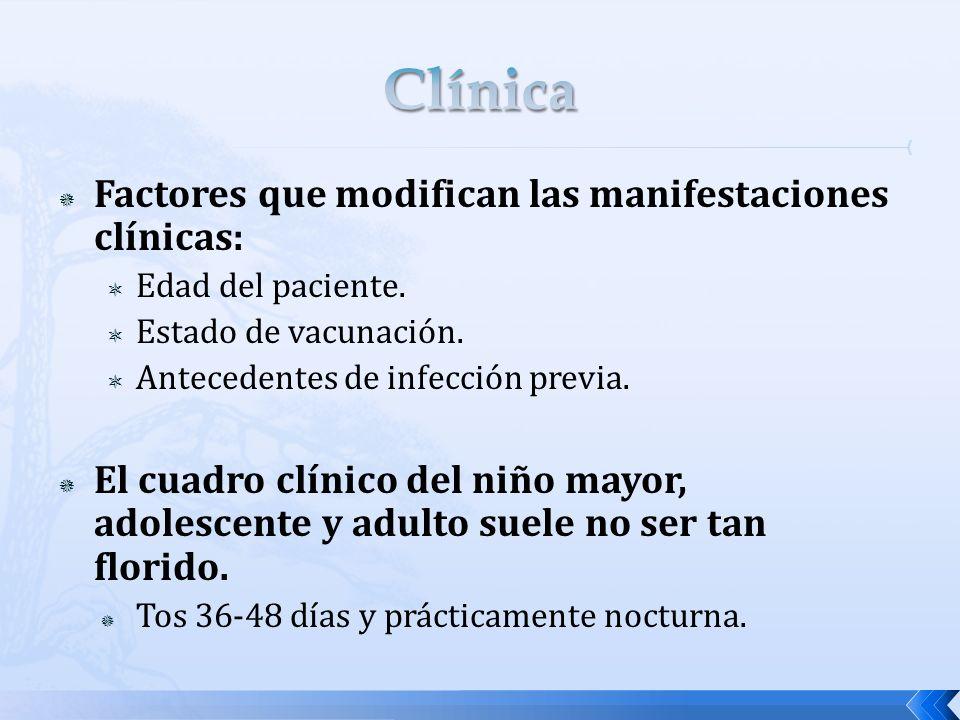Factores que modifican las manifestaciones clínicas: Edad del paciente. Estado de vacunación. Antecedentes de infección previa. El cuadro clínico del