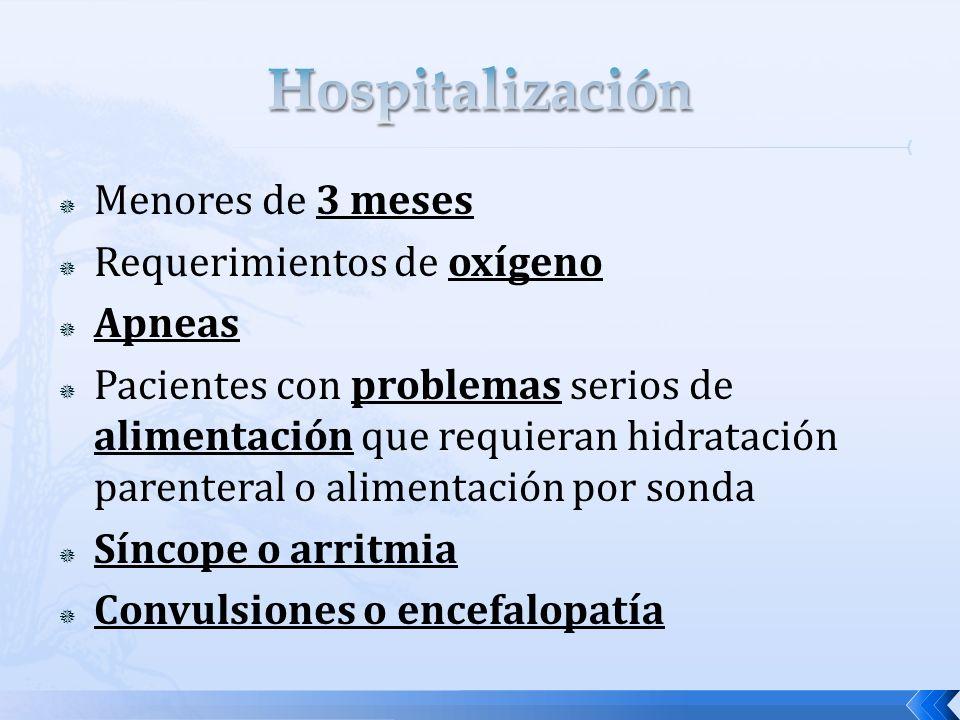 Menores de 3 meses Requerimientos de oxígeno Apneas Pacientes con problemas serios de alimentación que requieran hidratación parenteral o alimentación