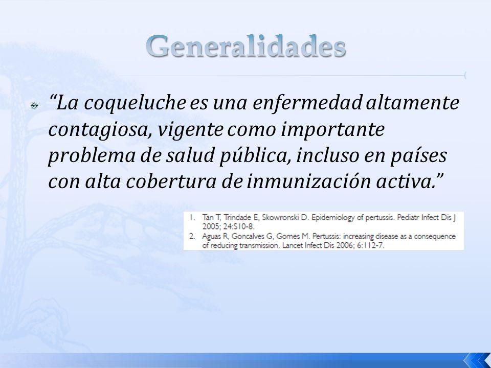 La coqueluche es una enfermedad altamente contagiosa, vigente como importante problema de salud pública, incluso en países con alta cobertura de inmun