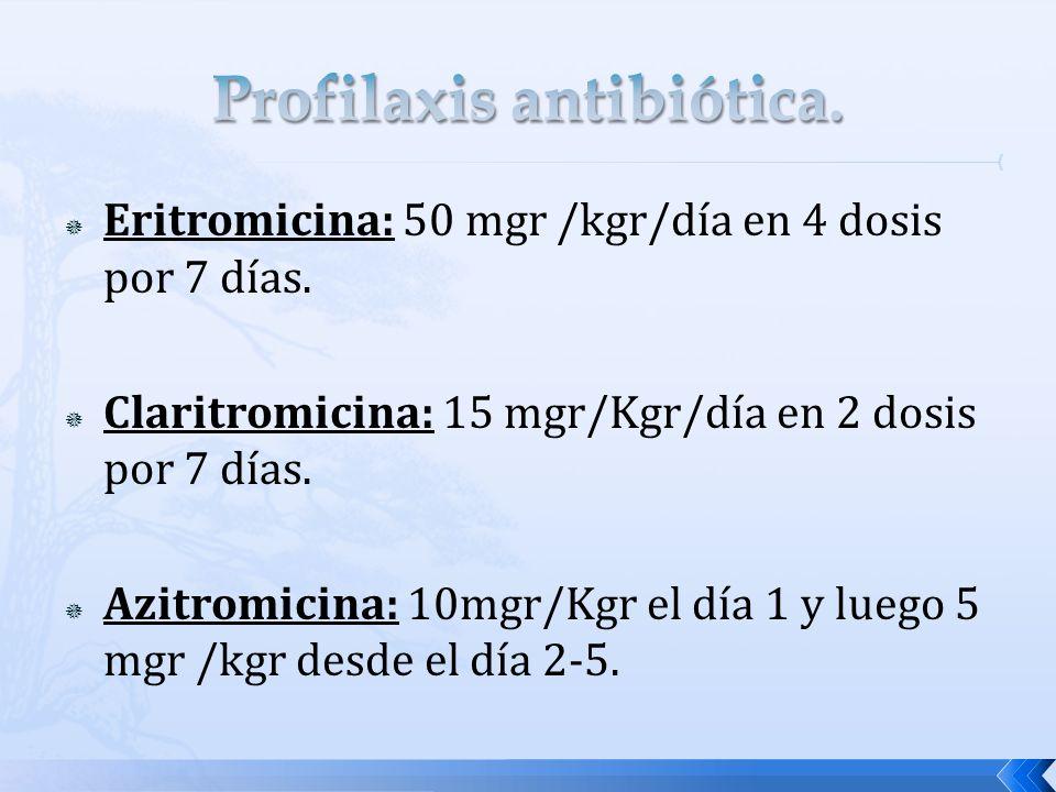 Eritromicina: 50 mgr /kgr/día en 4 dosis por 7 días. Claritromicina: 15 mgr/Kgr/día en 2 dosis por 7 días. Azitromicina: 10mgr/Kgr el día 1 y luego 5