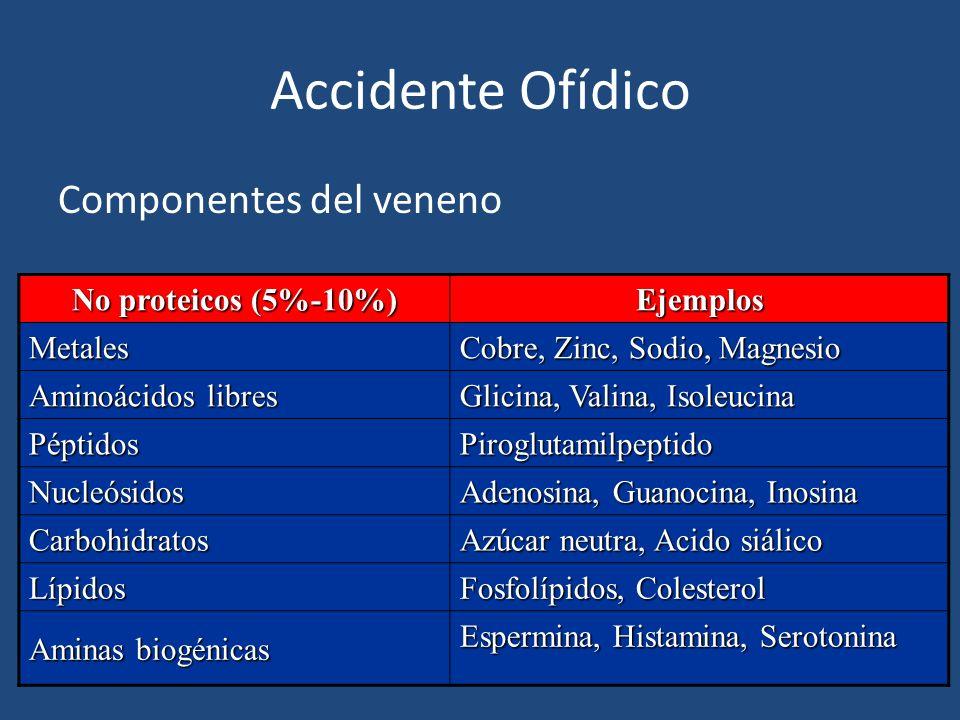 Accidente Ofídico Componentes del veneno No proteicos (5%-10%) Ejemplos Metales Cobre, Zinc, Sodio, Magnesio Aminoácidos libres Glicina, Valina, Isole