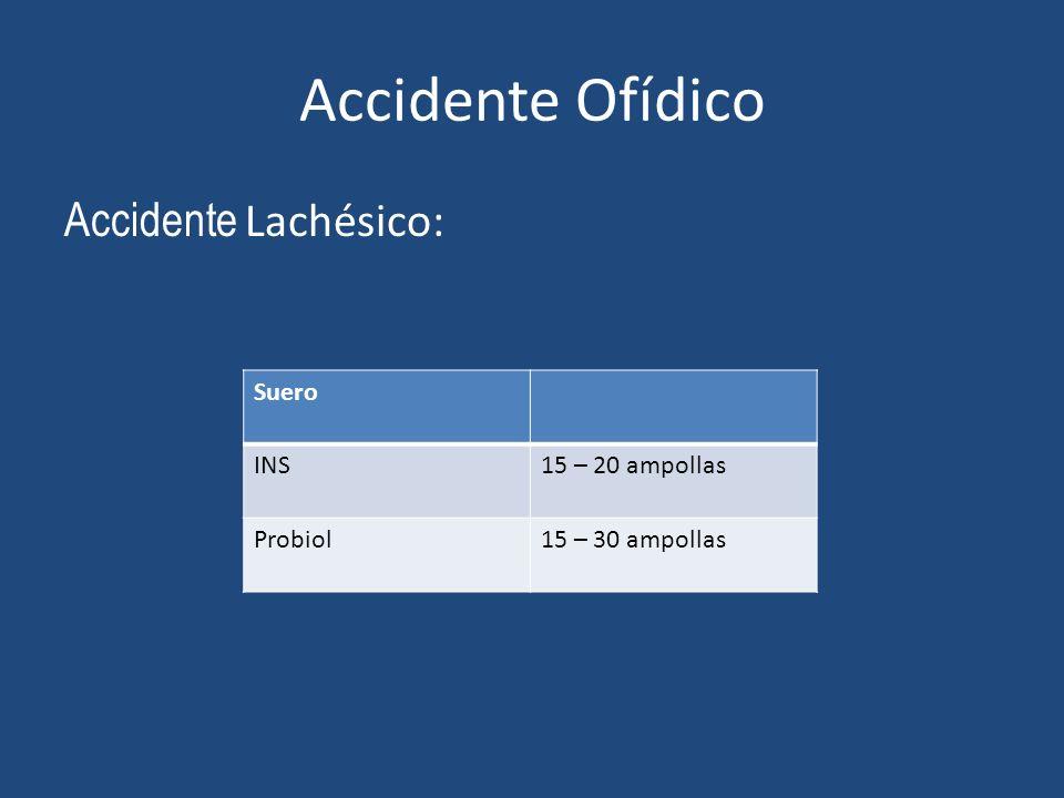 Accidente Ofídico Accidente Lachésico: Suero INS15 – 20 ampollas Probiol15 – 30 ampollas