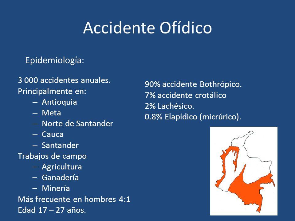 Accidente Ofídico 3 000 accidentes anuales. Principalmente en: – Antioquia – Meta – Norte de Santander – Cauca – Santander Trabajos de campo –Agricult