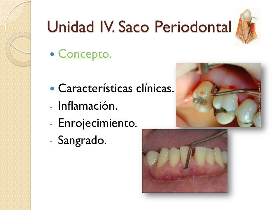Concepto. Características clínicas. - Inflamación. - Enrojecimiento. - Sangrado. Unidad IV. Saco Periodontal