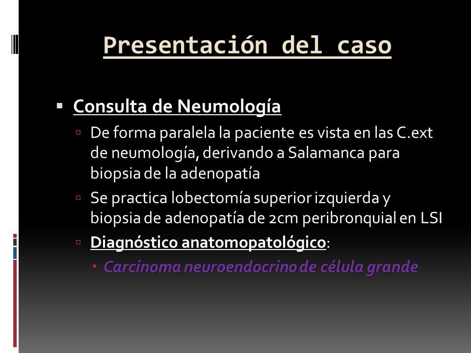 Presentación del caso Consulta de Neumología De forma paralela la paciente es vista en las C.ext de neumología, derivando a Salamanca para biopsia de