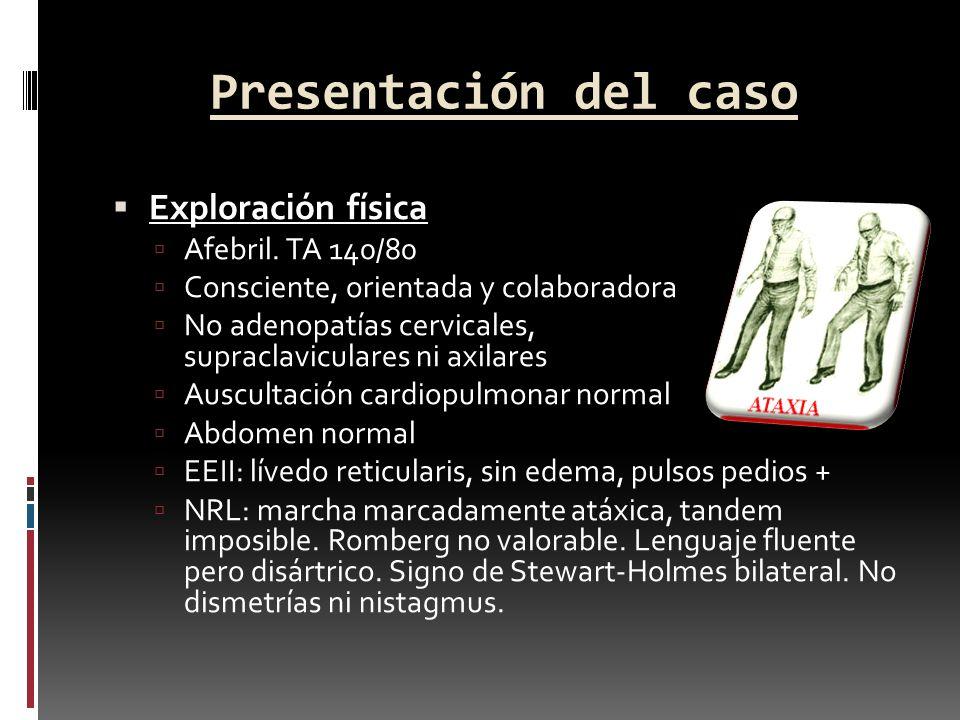 Presentación del caso Exploración física Afebril. TA 140/80 Consciente, orientada y colaboradora No adenopatías cervicales, supraclaviculares ni axila