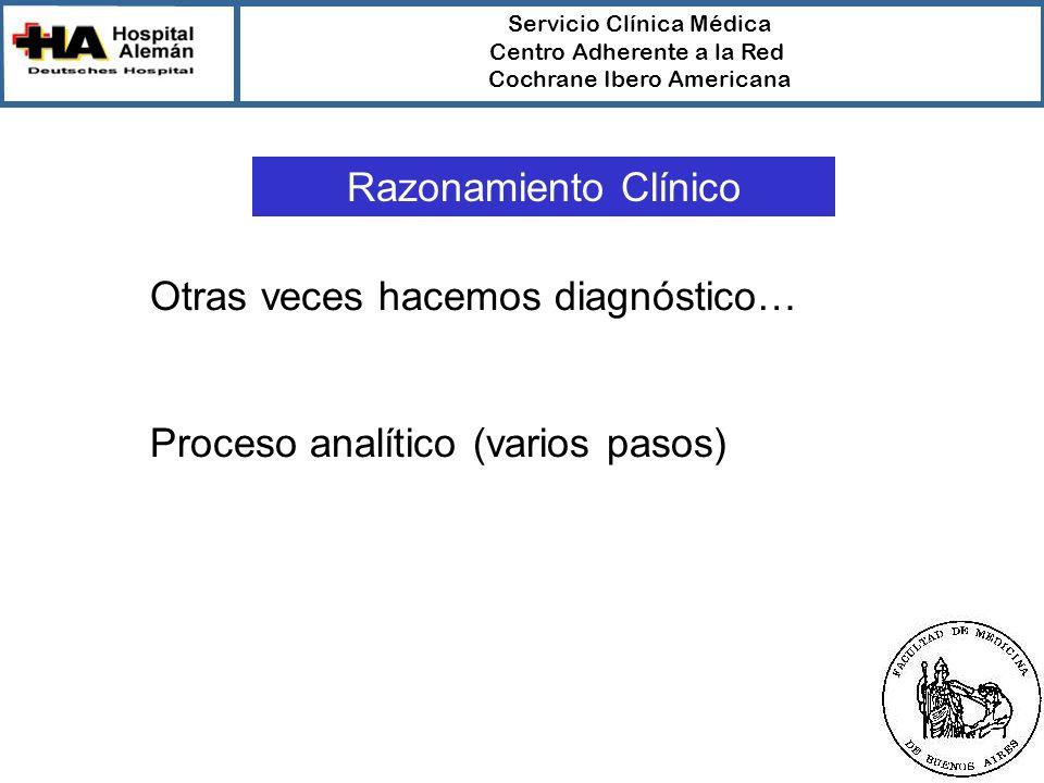 Servicio Clínica Médica Centro Adherente a la Red Cochrane Ibero Americana Razonamiento Clínico Otras veces hacemos diagnóstico… Proceso analítico (varios pasos)