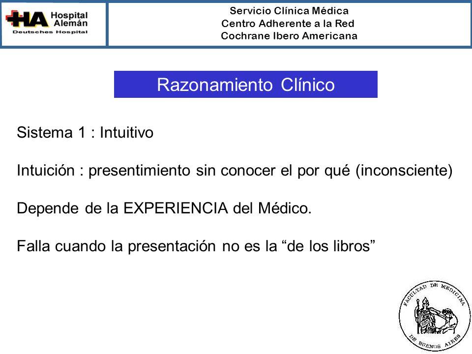 Servicio Clínica Médica Centro Adherente a la Red Cochrane Ibero Americana Razonamiento Clínico Sistema 1 : Intuitivo Intuición : presentimiento sin conocer el por qué (inconsciente) Depende de la EXPERIENCIA del Médico.
