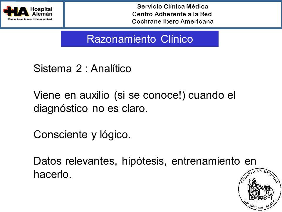 Servicio Clínica Médica Centro Adherente a la Red Cochrane Ibero Americana Razonamiento Clínico Sistema 2 : Analítico Viene en auxilio (si se conoce!) cuando el diagnóstico no es claro.